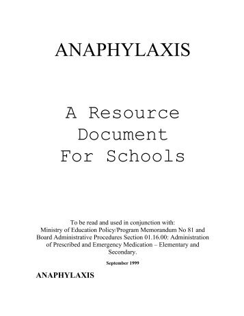 ANAPHYLAXIS A Resource Document For Schools - Peel Early Years
