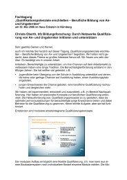 Vortrag - Netzwerk Qualifizierungswege für An- und Ungelernte