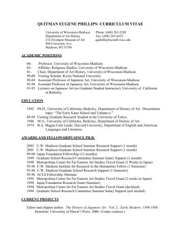 curriculum vitae - Department of Art History - University of Wisconsin ...