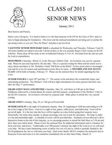 2011 Graduation Cover Letter - St. Louis University High School