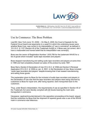 Use In Commerce: The Bose Problem - Oblon Spivak McClelland ...