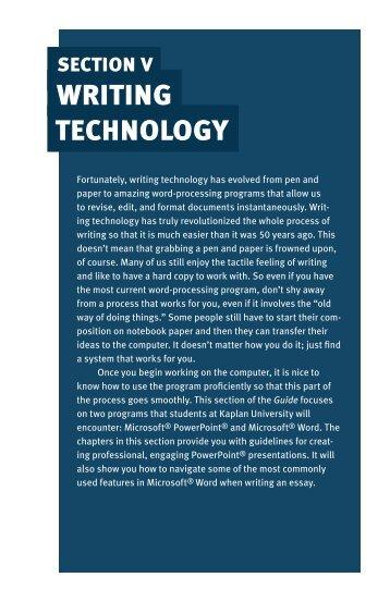 Section5_Writing_Technology.pdf - Kaplan University   KU Campus