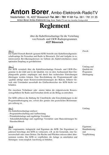 REGLEMENT KABELFERNSEHANLAGE - Borer TV