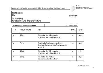 Bachelor Fachbereich MN Studiengang Optotechnik und ...