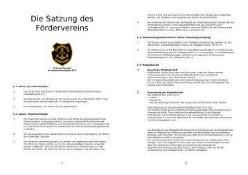 Die Satzung des Fördervereins - Schwimmverein Ludwigsburg 08 eV