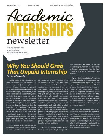 Why You Should Grab That Unpaid Internship - Pacific Lutheran ...