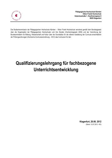 Qualifizierungslehrgang für fachbezogene Unterrichtsentwicklung