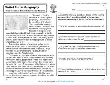 Cross-Curricular Reading Comprehension Worksheets: C-1 of