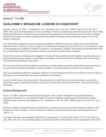 Qualcomm v. Broadcom: lessons In e-dIscovery - Amster Rothstein ...