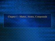 Chapter 1 - Matter, Atoms, Compounds