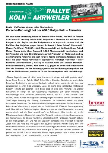 Schlussbericht 12.11.2005 (pdf) - Rallye Köln-Ahrweiler