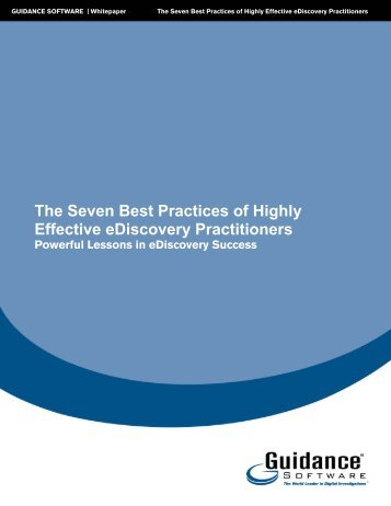 The Seven Best Practices of Highly Effective eDiscovery ... - IQPC.com
