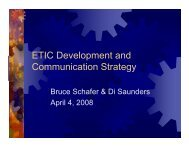 ETIC Development and Communication Strategy - Engineering and ...