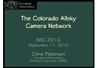 The Colorado Allsky Camera Network - International Meteor ...