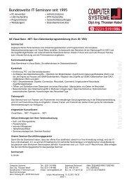 MS Visual Basic .NET - Kurs Datenbankprogrammierung - Computer ...