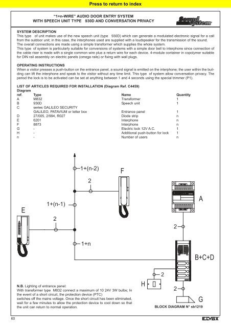 """audio door entry system with """"1n"""""""