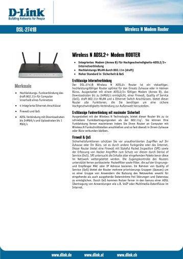 DSL-2741B Wireless N ADSL2+ Modem ROUTER - ftp - D-Link