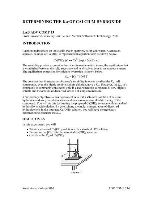 ksp of calcium hydroxide