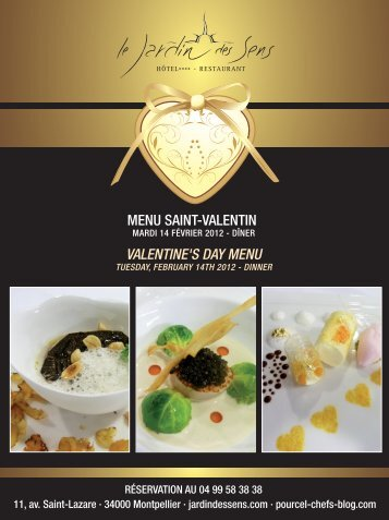 MENU SAINT-VALENTIN VALENTINE'S DAY MENU