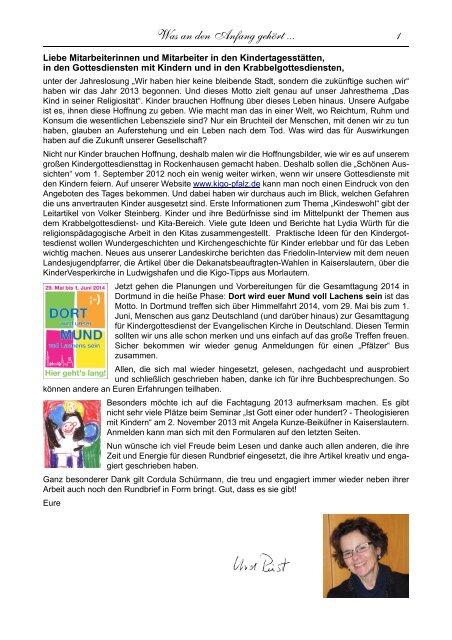 Letzter Rundbrief Ru 85 Kindergottesdienst In Der Pfalz