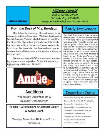 Auditions - Hillside Middle School - Salt Lake City School District