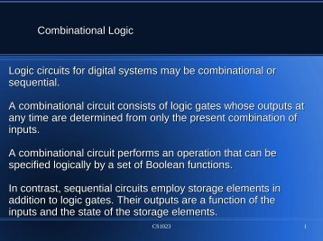 Combinational Logic Logic circuits for digital systems may be ...