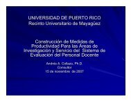 Construcción de Medidas de Productividad Para las Áreas ... - UPRM