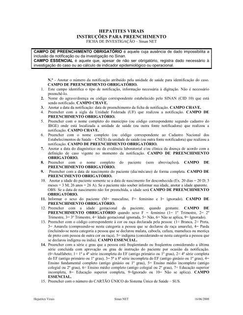 Hepatites Virais Instru U00c3 U0192 U00c2 U2021 U00c3 U0192 U00c2 U2022es Para Preenchimento