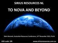 TO NOVA AND BEYOND - Sirius Resources