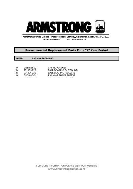 for more information please visit our website - Armstrong Pumps