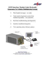 J1939 Interface Module Links Hydraulic Generator To ... - Smart Power