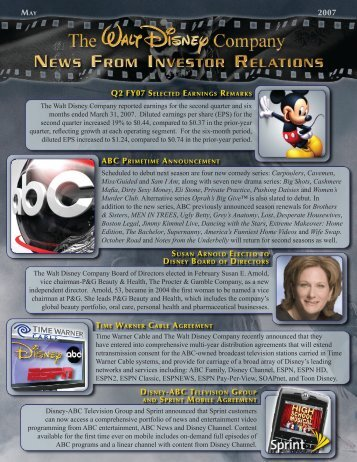 2007 q2 fy07 selected earnings remarks - The Walt Disney Company