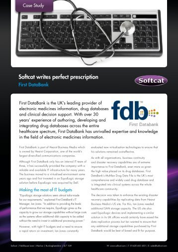 Softcat...the perfect partner for First DataBank After the decision was ...