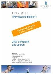 Präventionskurse Krankenkasse zahlt - CITY MED. München Gmbh