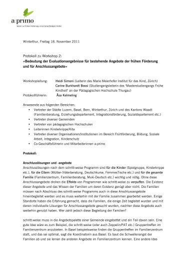 Protokoll zu Workshop 2: Ã'Â«Bedeutung der ... - a:primo
