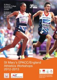 St Mary's EPACC/England Athletics Workshops 2012-2013