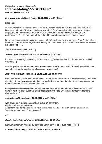 Internetdating??? Wirklich? - Studentenportal pruefungsgeil.de