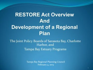 RESTORE Act Overview and Development of a Regional Plan