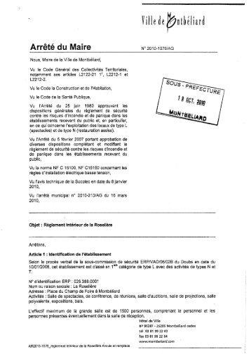 Télécharger le réglement intérieur. - Montbéliard