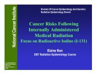 Cancer Risks Following Internally Administered Medical Radiation