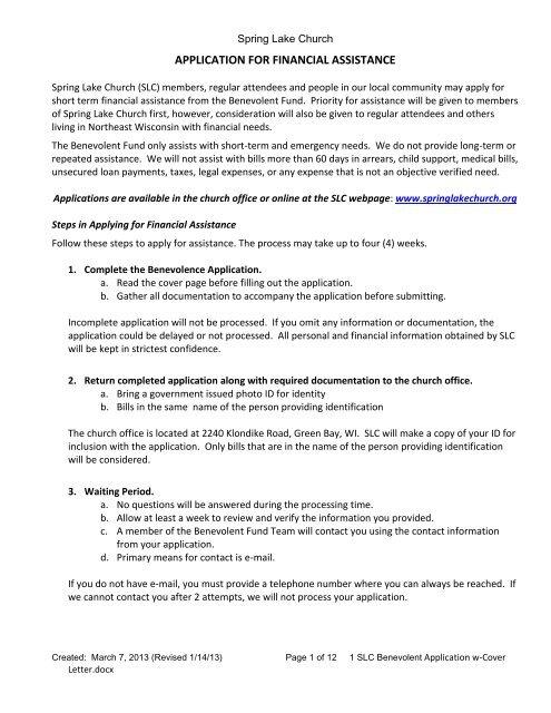 Benevolence Application Form - Spring Lake Church