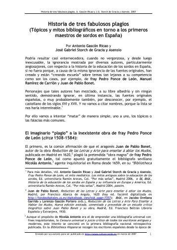 Historia de tres fabulosos plagios (Tópicos y mitos ... - cultura Sorda