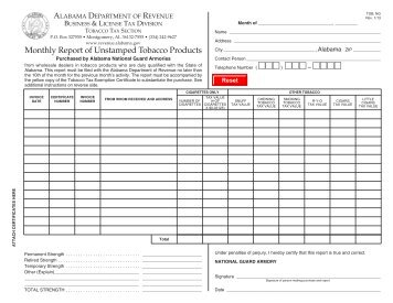 Monthly Report of Unstamped Tobacco Products - Alabama ...