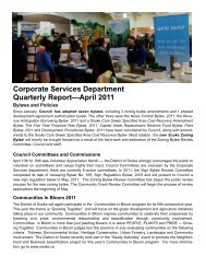 Corporate Services Department Quarterly Report ... - District of Sooke