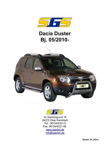 Duster Typ SD/SR ab Bj. 05/2010 - SGS