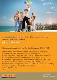 Erstmalig exklusiver Gay Party Flug zum TLV Pride Berlin ... - Go Israel