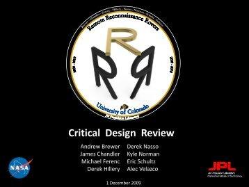 CDR - Aerospace Engineering Sciences Senior Design Projects