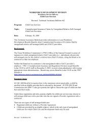 TA Bulletin TA-62 - Texas Workforce Commission