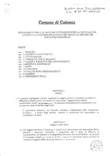 Regolamento per il rilascio dei contrassegni per la circolazione, la ...