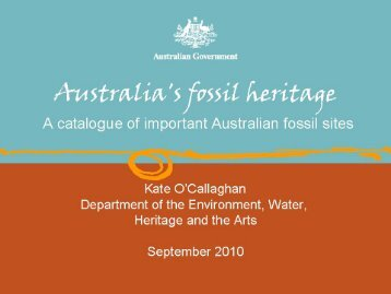 A catalogue of Australia's fossil heritage